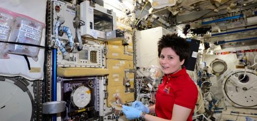 Samantha Cristoforetti con l'esperimento Epigenetica. Credit: ESA/NASA