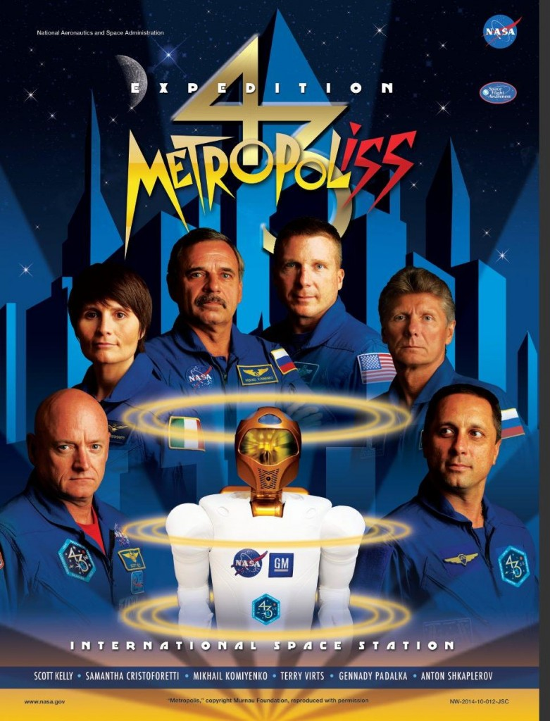 Il poster cinematografico della Expedition 43. Credit: NASA