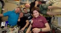 Samantha Cristoforetti e l'equipaggio della Expedition 42 festeggiano il Capodanno 2015. Credit: ESA/NASA
