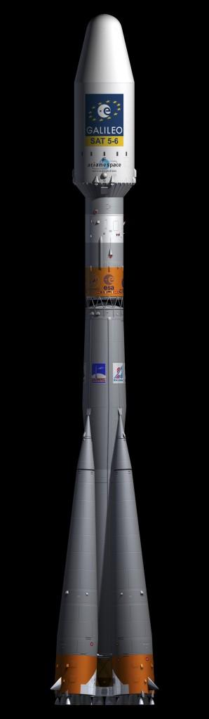 Una rappresentazione artistica del razzo Soyuz con a bordo i primi due satelliti Galileo Full Operational Capability (C) ESA–J. Huart, 2014