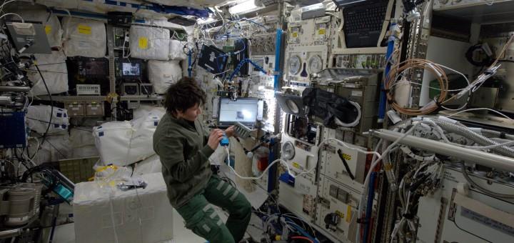 Samantha Cristoforetti lavora all'esperimento TripleLux-B nel laboratorio Columbus. Credit: ESA/NASA