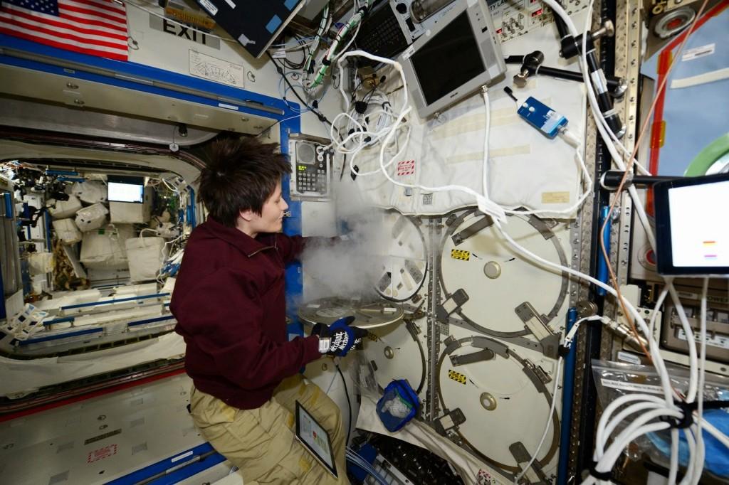 Samantha Cristoforetti con un congelatore MELFI nel modulo Destiny. Credit: ESA/NASA