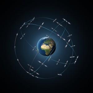 Rappresentazione artistica della costellazione Galileo con 30 satelliti. Credit: ESA-P. Carril