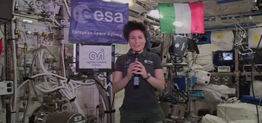 Il collegamento di Samantha Cristoforetti con Matteo Renzi dell'8 aprile 2015. Credit: NASA TV