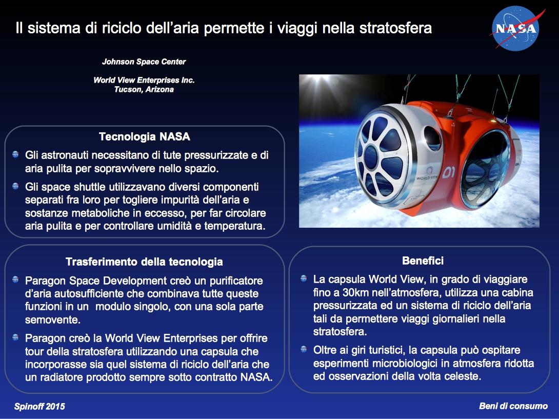 Viaggi nella stratosfera giornalieri possibili grazie ad un sistema di riciclo dell'aria monoblocco © NASA / Veronica Remondini