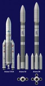 Le due versioni di Ariane 6 a confronto con il predecessore Ariane 5 Credits: Airbus Safran Launchers