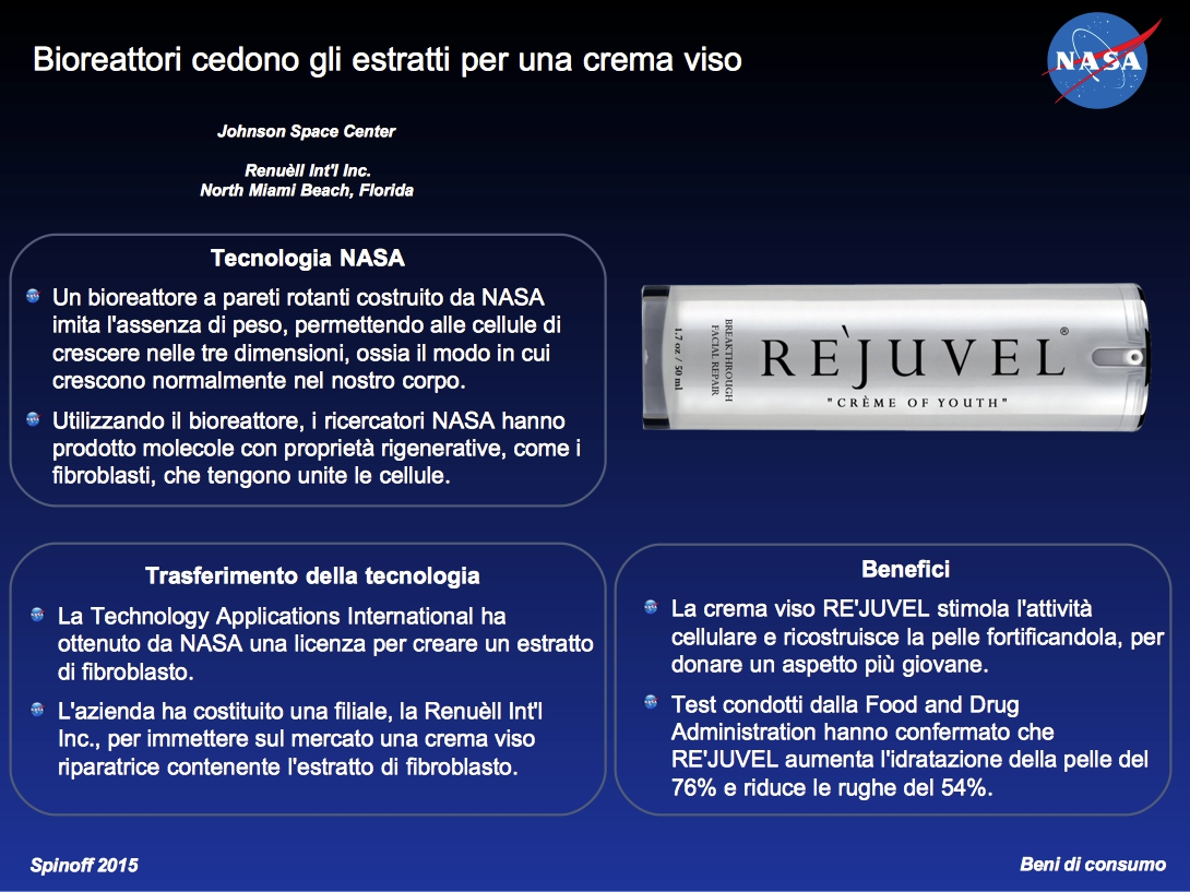 Bioreattore cede estratti per crema viso © NASA / Synthecon, Inc. / Renuèll / Veronica Remondini