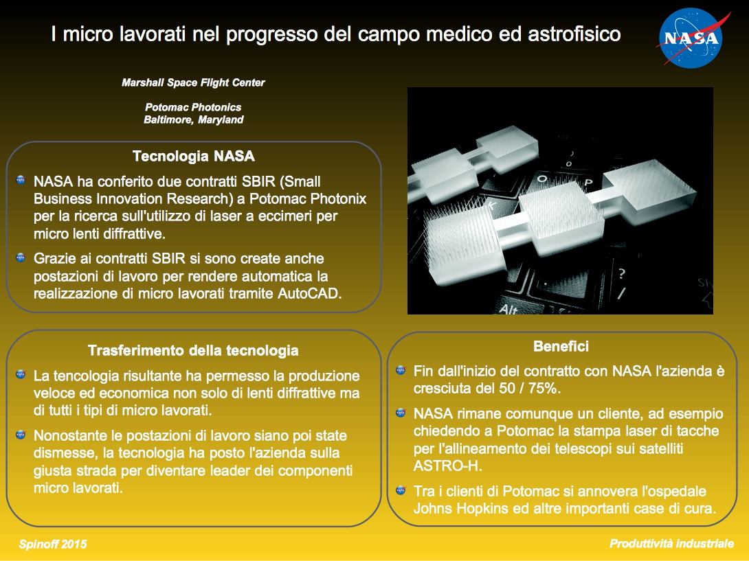 I microlavorati nel progresso del campo medico ed astrofisico © NASA / Veronica Remondini
