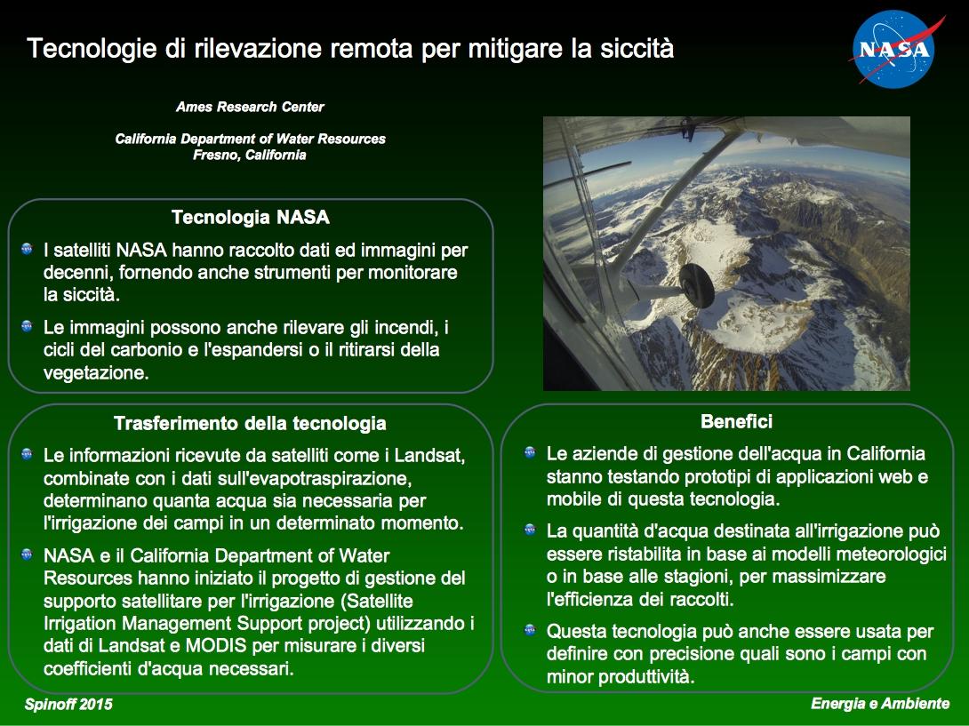 Tecnologie di rilevazione remota per mitigare la siccità Tecnologie di rilevazione remota per mitigare la siccità © NASA / Veronica Remondini