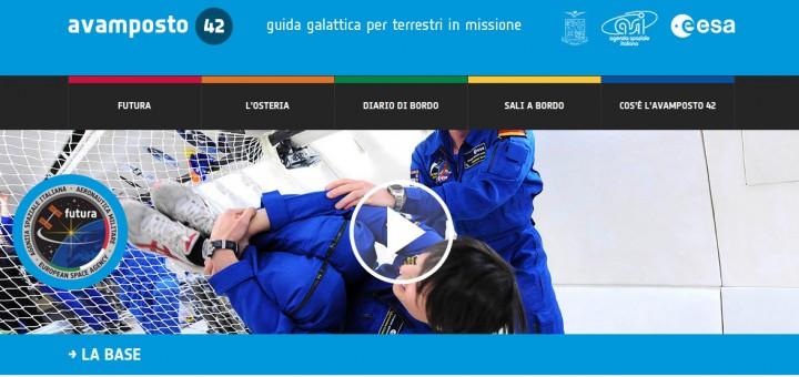 La home page del sito Avamposto 42 della missione Futura. Credit: ASI/ESA/AMI