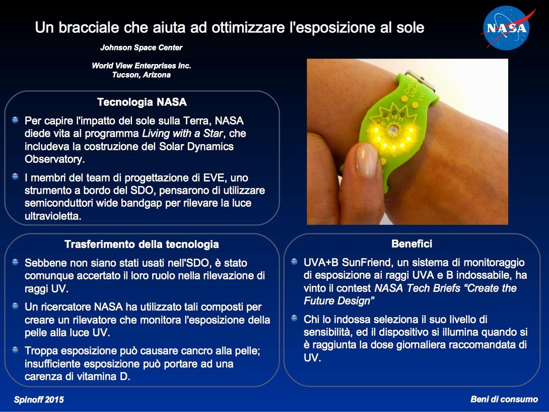 UVA+B SunFriend: il bracciale che misura la nostra esposizione al sole ©NASA / Veronica Remondini