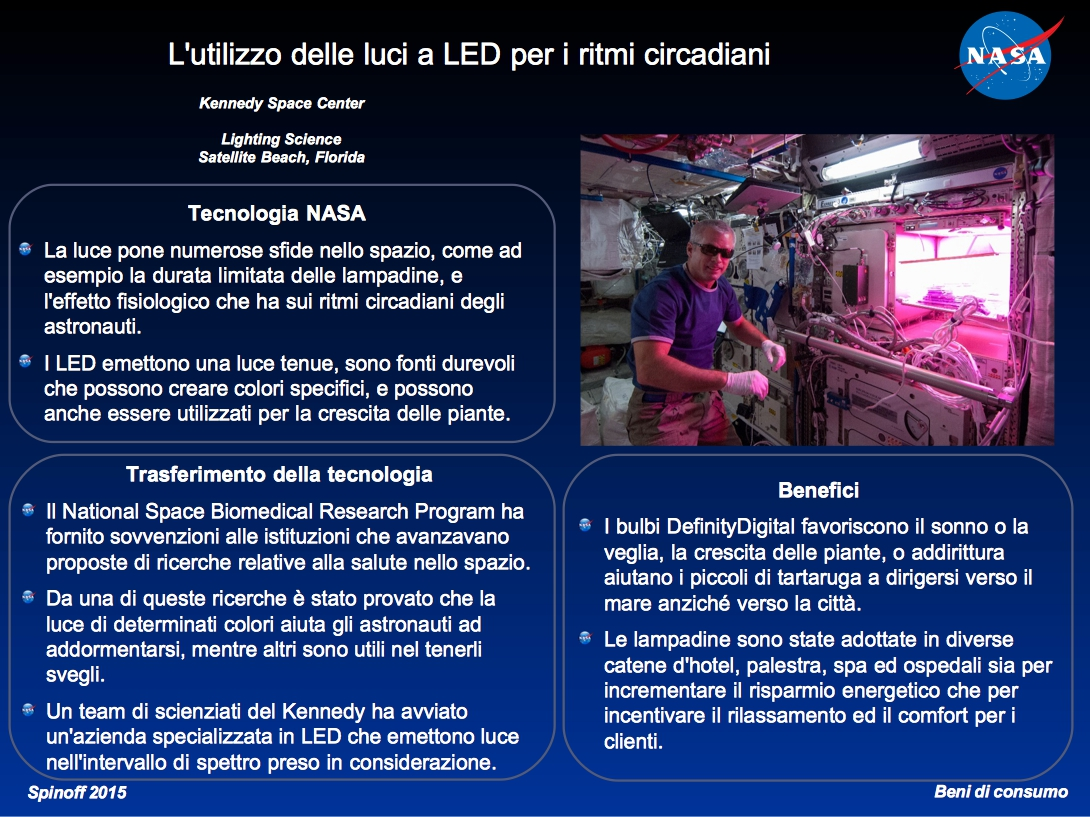 L'utilizzo delle luci a LED per i ritmi circadiani ©NASA / Veronica Remondini