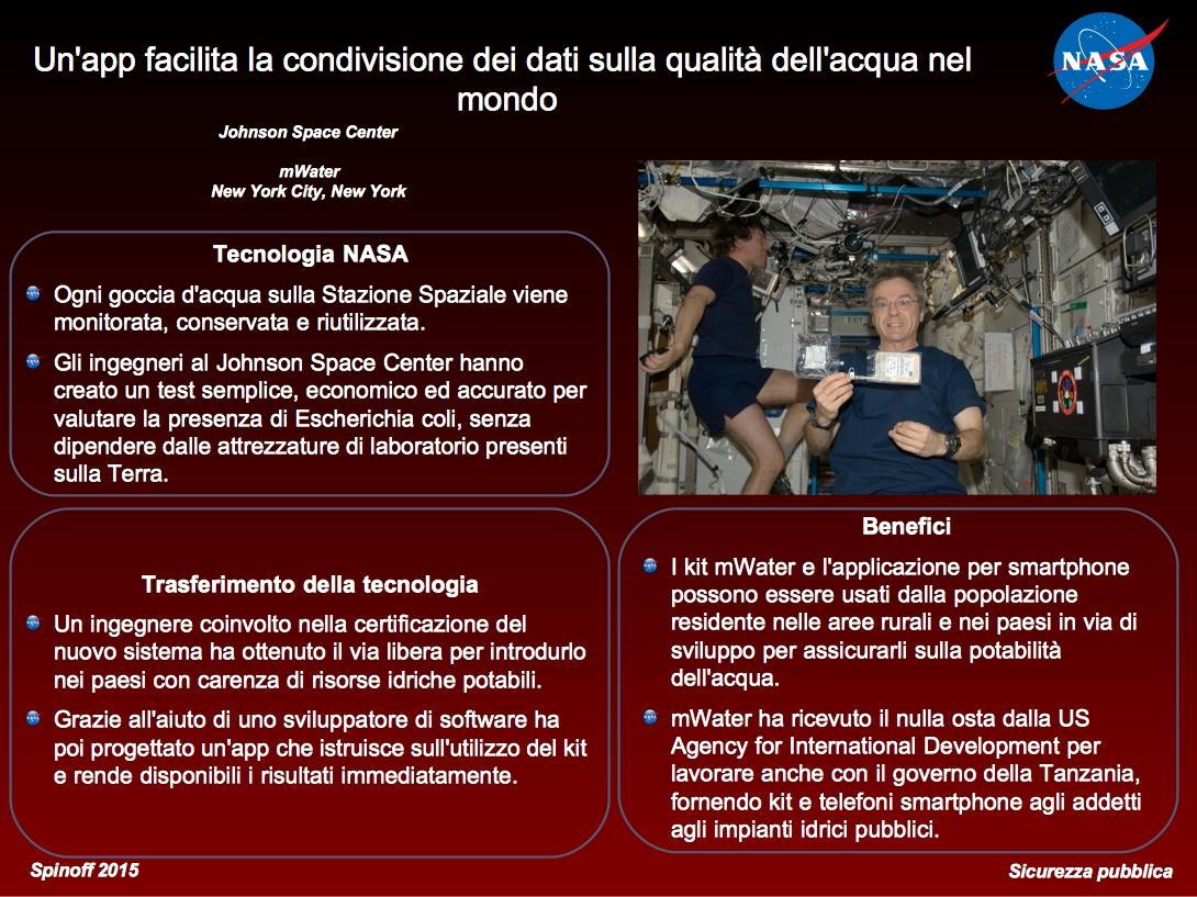 Il test di purificazione dell'acqua sviluppato per la ISS viene utilizzato anche sulla Terra ©NASA / Veronica Remondini