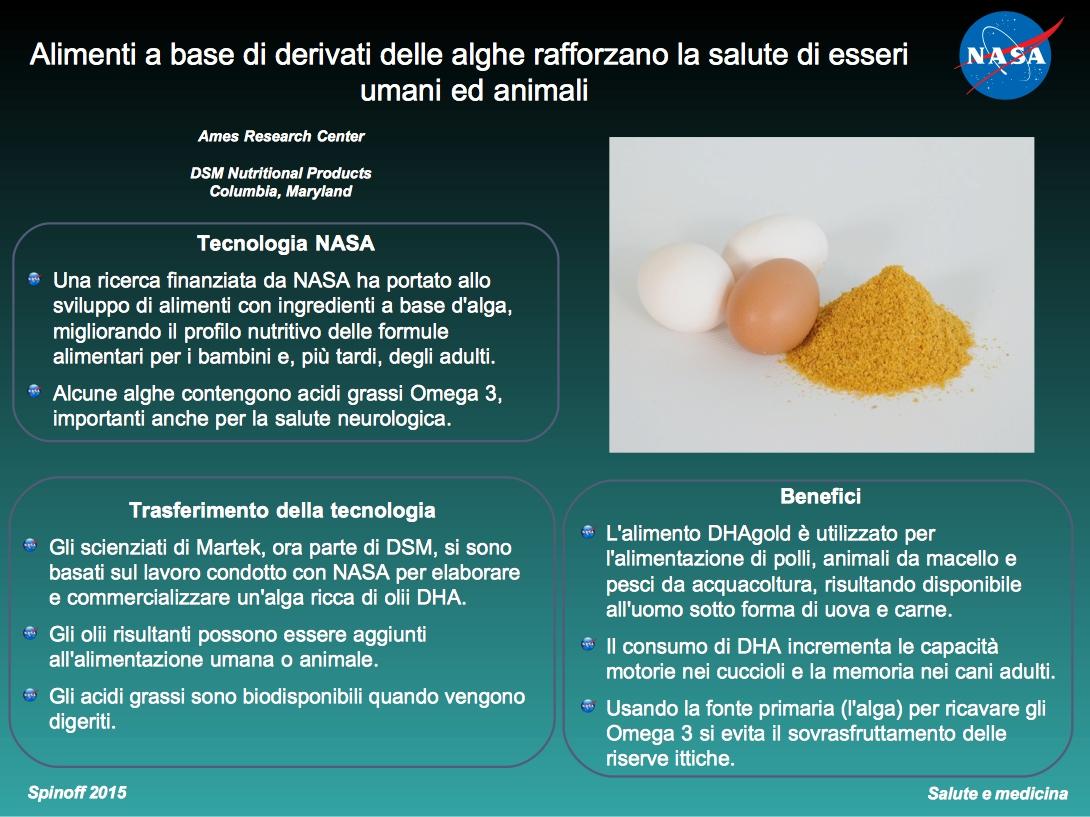 Le alghe sono ricche in Omega 3, integratore importante per la salute di esseri umani ed animali ©NASA / Veronica Remondini