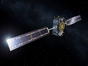 Rendering di un satellite Galileo in orbita con i pannelli dispiegati