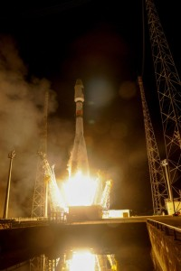 Un'immagine del lancio del Soyuz con a bordo due satelliti della costellazione Galileo
