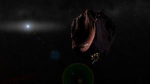 Impressione artistica di NH mentre sorvola un KBO (Credit: NASA/Johns Hopkins University Applied Physics Laboratory/Southwest Research Institute/Steve Gribben)