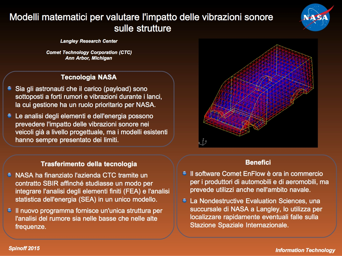 Il software Comet EnFlow permette di valutare al meglio l'impatto delle vibrazioni sonore in fase progettuale @NASA / Veronica Remondini