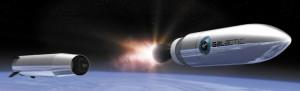 Il sistema LauncherOne di Virgin Galactic in fase di stagig. Credits: Virgin Galactic