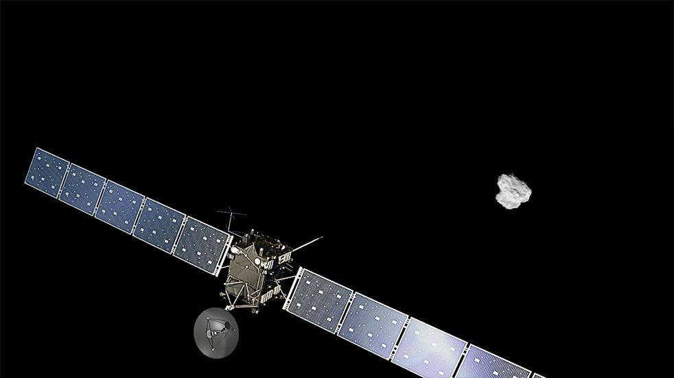 Rosetta mentre si avvicina alla cometa © Spacecraft: ESA/ATG medialab; Comet image: ESA/Rosetta/NAVCAM