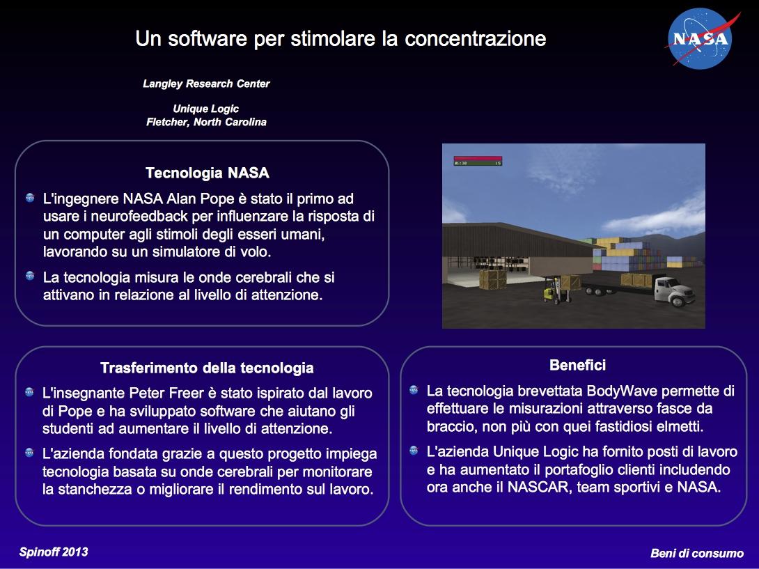 Un software per stimolare la concentrazione © NASA / Veronica Remondini