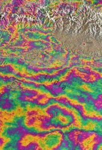 Un'immagine delle rilevazioni effettuate a seguito del terremoto in Nepal dell'Aprile 2015