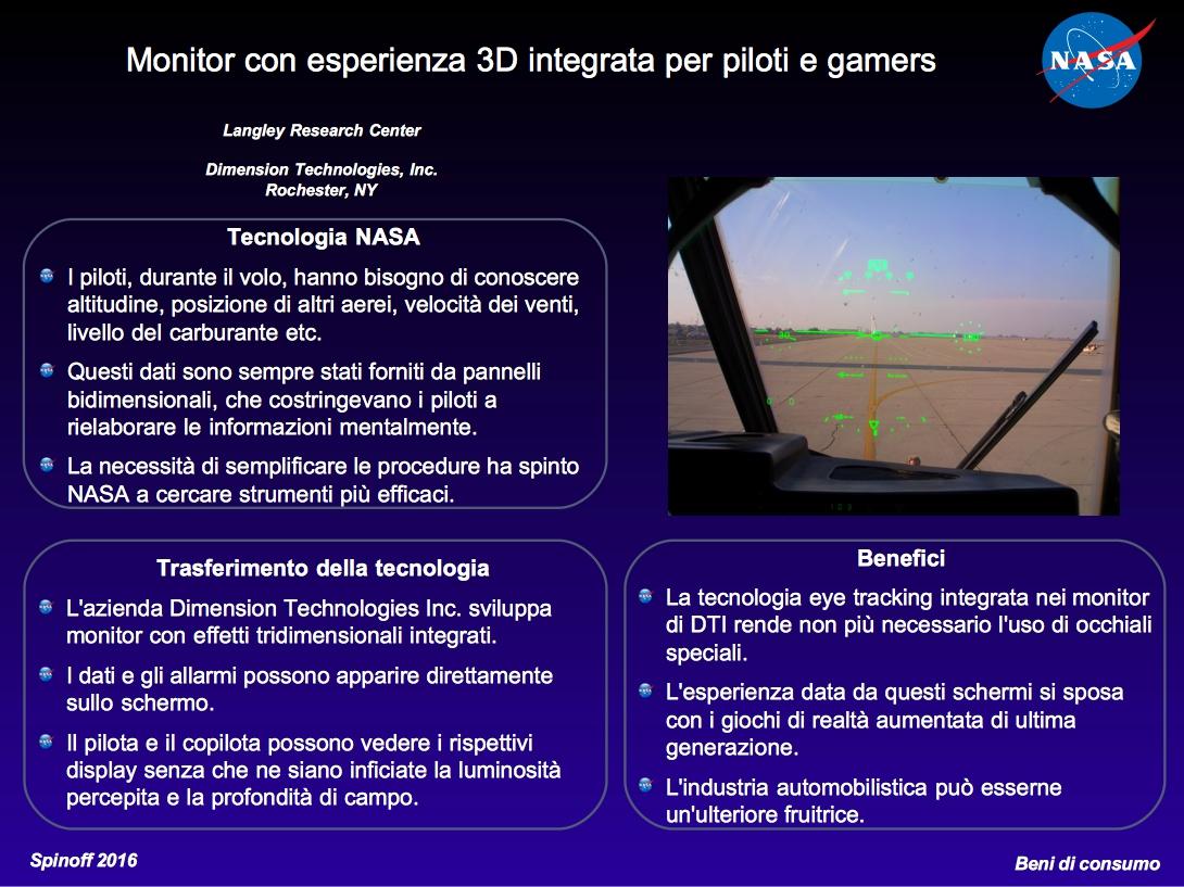 Monitor con esperienza 3D immersiva per piloti e gamers © NASA / Veronica Remondini