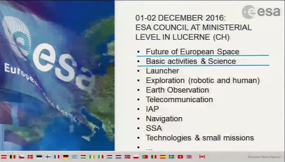 Ordine del giorno della prossima Ministeriale ESA - (C) ESA