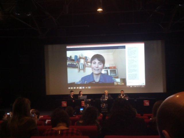 Samantha Cristoforetti via Skype alla Casa del Cinema di Roma il 16.02.2016 © Veronica Remondini