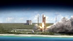 Rendering del lancio si SLS Credits: NASA