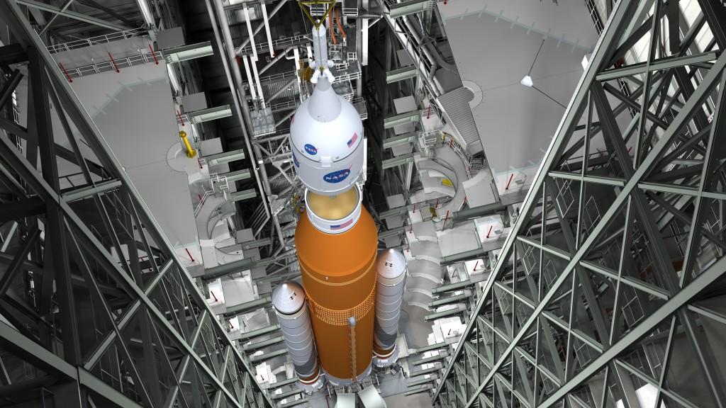 Artistit concept dell'integrazione di Orion-SLS (Credits: Nasa)