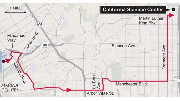 Il tragitto sulle strade di Los Angeles