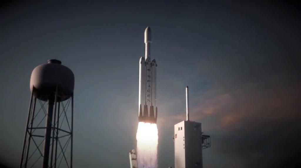 Il liftoff di Falcon Heavy per ora esiste solo come artist's concept. Credits: SpaceX