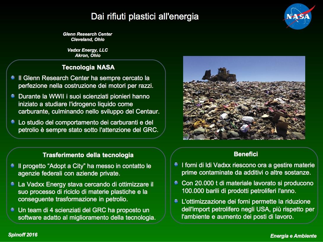 Trasformazione dei rifiuti plastici in petrolio © NASA / Veronica Remondini