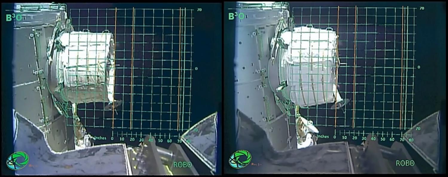 Il diametro del modulo BEAM all'inizio (sinistra) e al termine (destra) della prima giornata di lavoro.