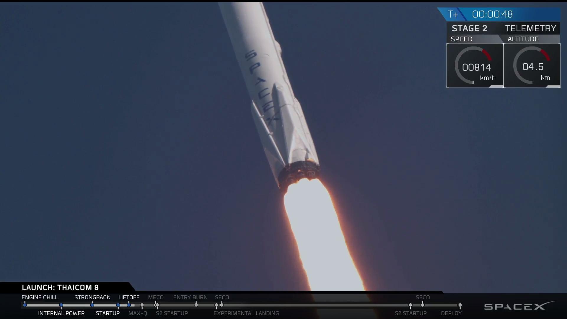 I nove motori Merlin 1D del Falcon 9 in azione