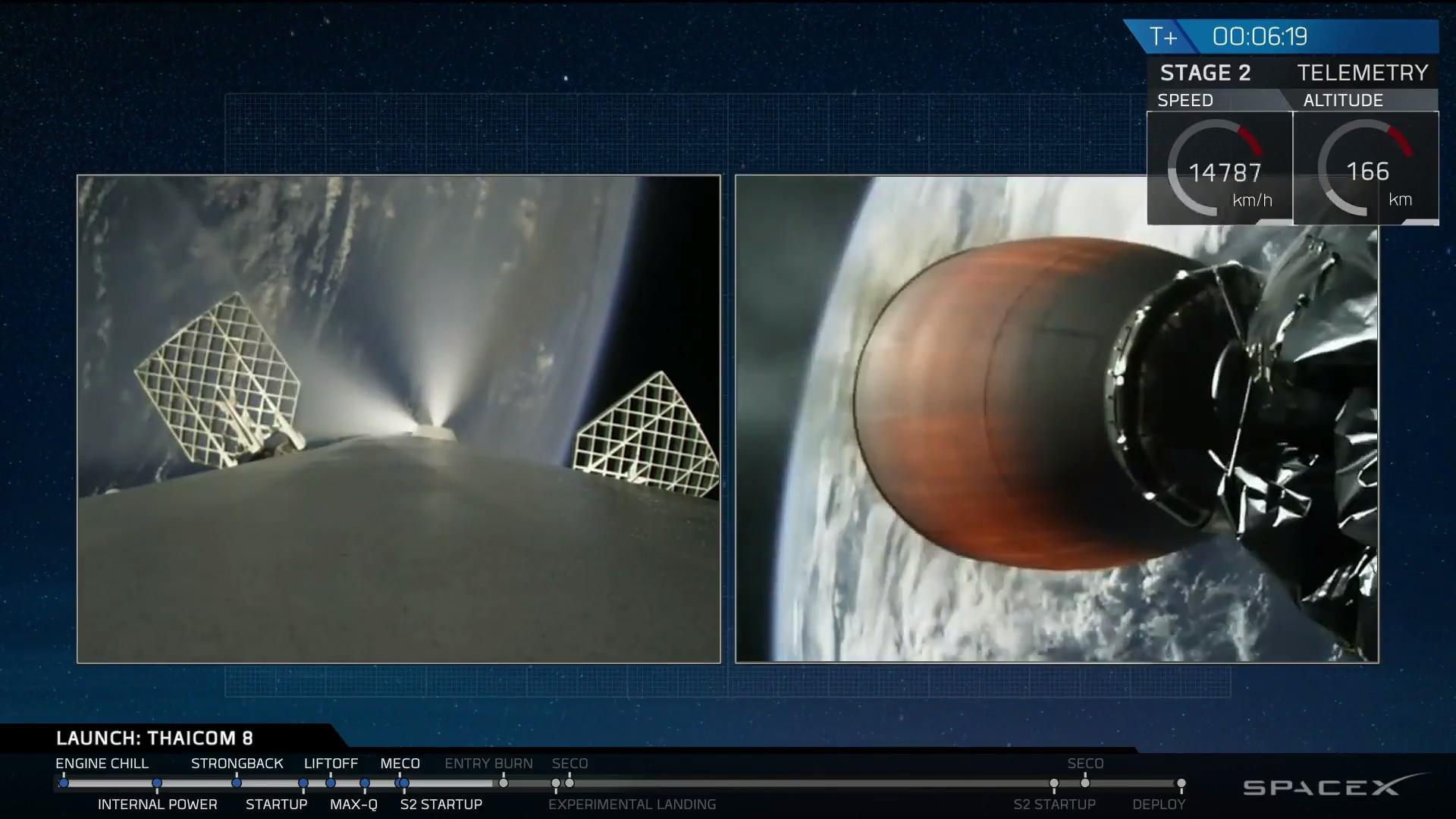 """Il sistema RCS del primo stadio del Falcon 9 guida il perfetto posizionamento in previsione del """"re-entry burn"""""""