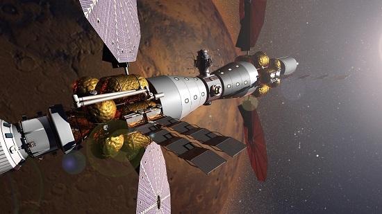 "Il ""campo base"" proposto da Lockheed Martin in orbita marziana (credit: Lockheed Martin)"