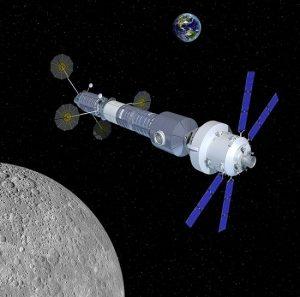 Una rappresentazione artistica della base in orbita lunare proposta da Orbital ATK Credits: Orbital ATK
