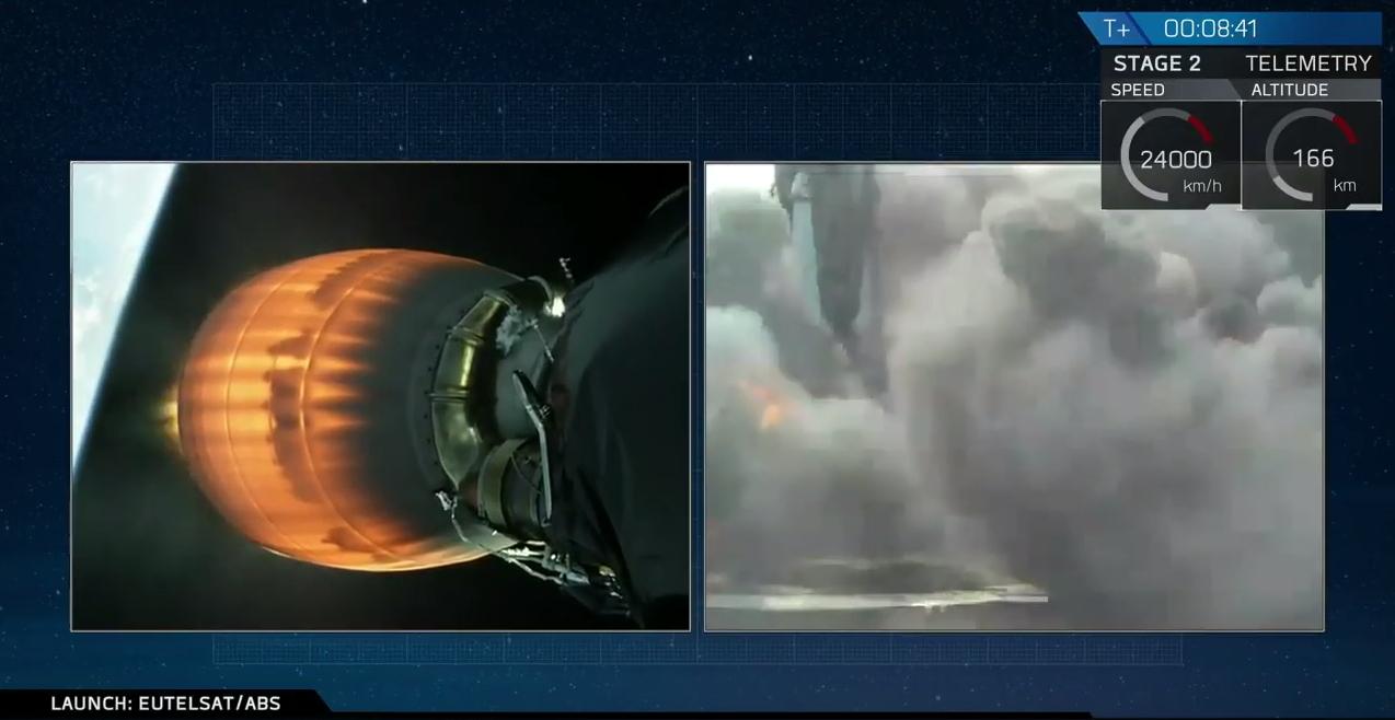 """Il primo stadio del Falcon 9 apparentemente """"in piedi"""" sulla piattaforma OCISLY"""