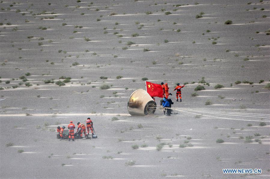 Il prototipo della capsula recuperato dopo il rientro. Credit: Xinhua