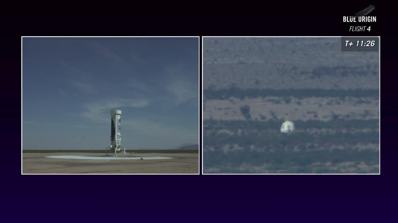 Capsula e Booster di New Shepard al suolo, dopo due perfetti atterraggi - (C) Blue Origin