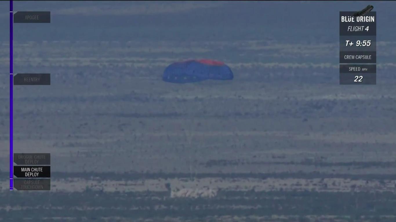 """Il momento del """"touchdown"""" della capsula di New Shepard - (C) Blue Origin"""