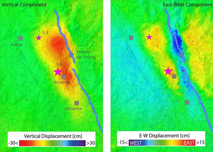 Lo spostamento del suolo nella zona colpita dal sisma di Agosto 2016. Credits: Copernicus Sentinel (2016)/ESA/CNR-IREA