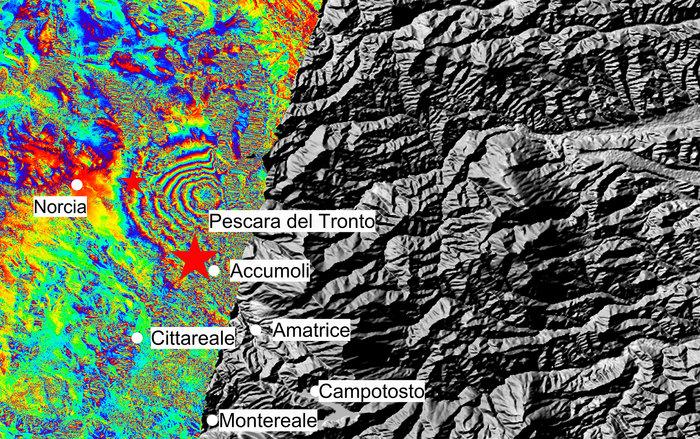 La mappa in colori artificiali dello spostamento del suolo nel Rietino - (Contains modified Copernicus Sentinel data (2016)/ESA/ CNR-IREA)