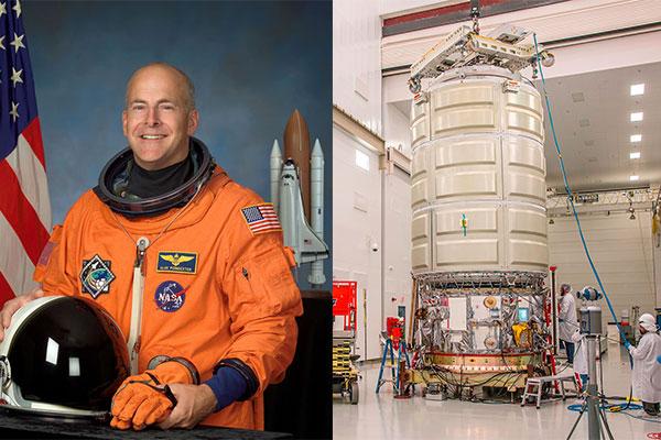L'astronauta Alan Poindexter e la Cygnus OA-5, che porterà il suo nome. - (C) NASA