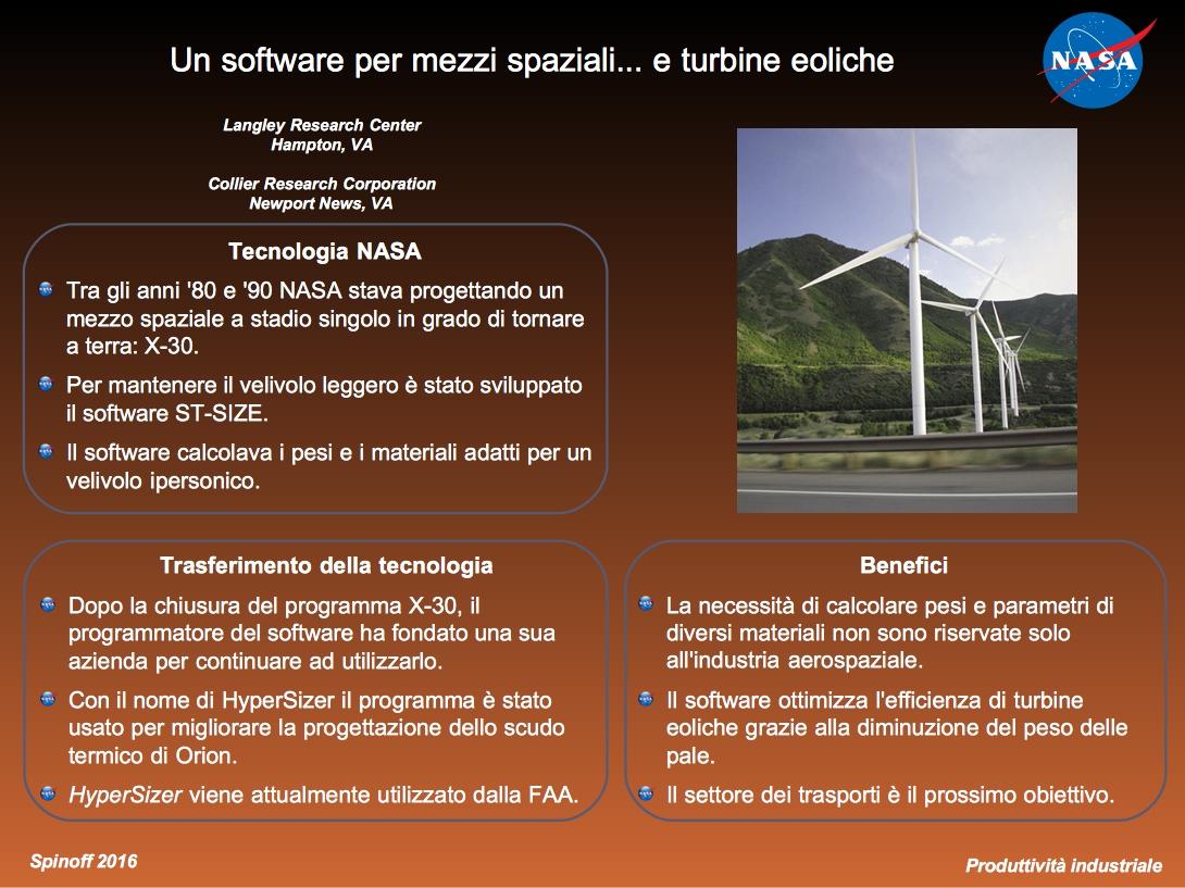 Un software per aumentare l'efficienza delle turbine eoliche derivante dal settore aerospaziale.