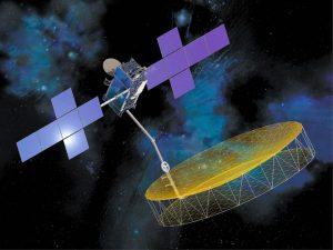 Rappresentazione artistica di EchoStar 21 / TerreStar 2 con in evidenza la grossa antenna riflettente. Credits: Space Systems/Loral