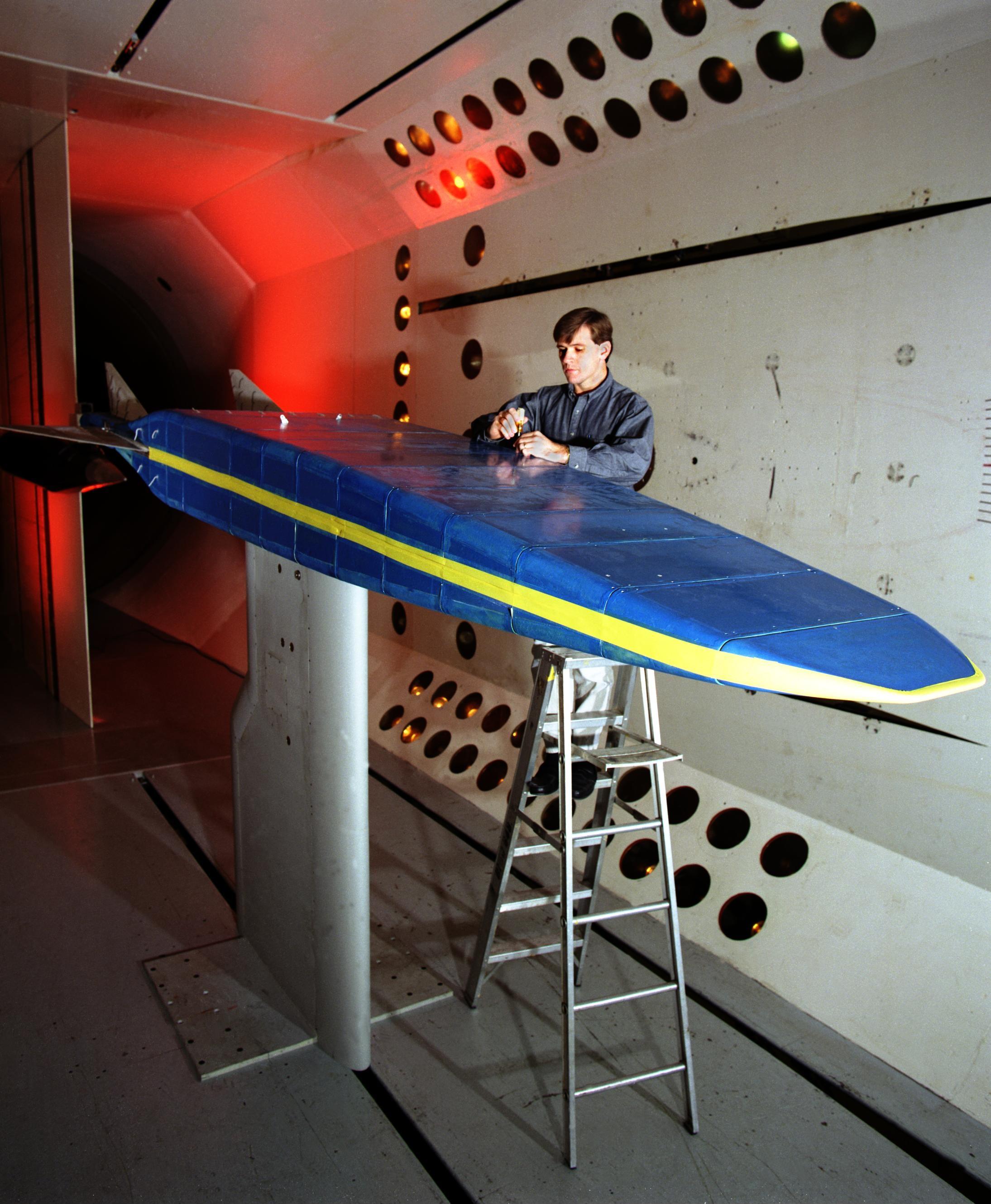 Un modello di Rockwell X-30 in galleria del vento. Fonte: Wikipedia