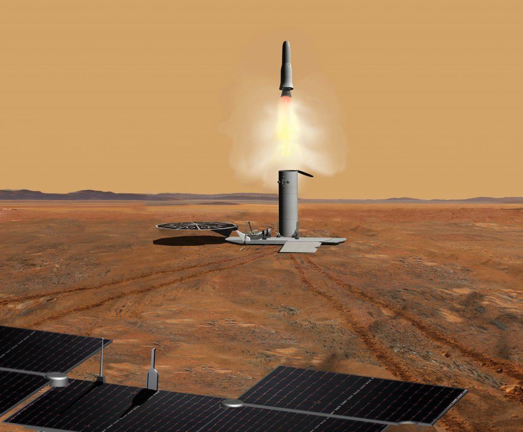 Rappresentazione artistica del decollo dei campioni di suolo marziano, da uno studio del 2011. Credit: NASA/JPL-Caltech